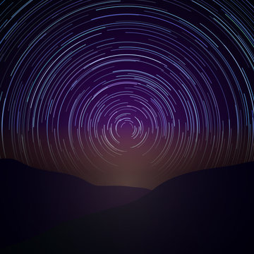 Night sky with star trails. Vector Milky Way background. Astronomy time, natural beauty nature illustration