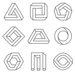 Wall Mural - Impossible geometric shapes in linear outline style. Emblem logo set, monochrome trendy geometrical illustration.  Vector hipster elements