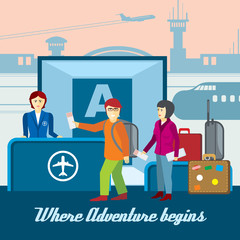 Airport background in flat style. Boarding and passport control, ticket and tourism llustration. Travel vector concept