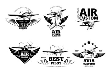 Airplane emblems vector labels. Aviation logo, flight and best pilot illustration
