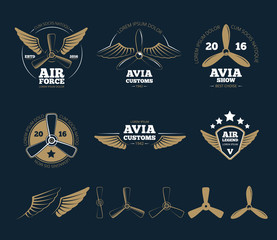 Aircraft design elements and logos. Airplane propeller, emblem or insignia, stamp flight, vector illustration