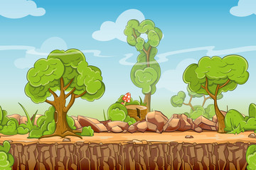 Fotobehang Khaki Country seamless landscape in cartoon style. Nature panorama, green tree outdoor, vector illustration