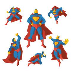 Superhero in different actions. Costume superhero, polygonal geometric man woth cloak. Vector illustration set
