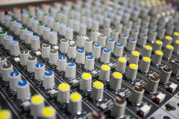 Close up buttons control sound mixer