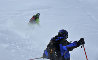 powder snow skiing