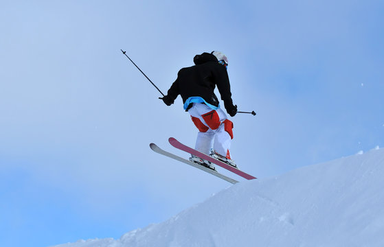 landing after a jump on skis