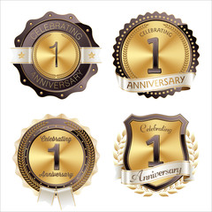 Gold and Brown Anniversary Badges 1st Year Celebration