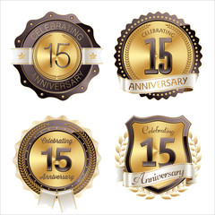 Gold and Brown Anniversary Badges 15th Year's Celebration
