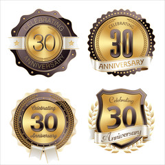 Gold and Brown Anniversary Badges 30th Year's Celebration