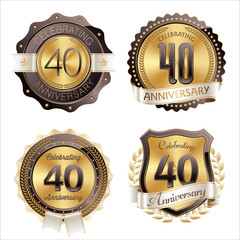 Gold and Brown Anniversary Badges 40th Year's Celebration