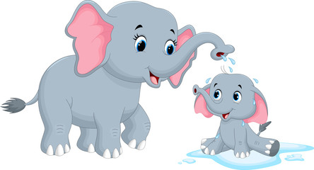 Vector illustration of mother elephants bathing her child