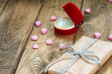 Condom in a gift box