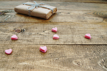 Gift box and heart shapes