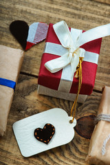 Gift boxes and heart shapes