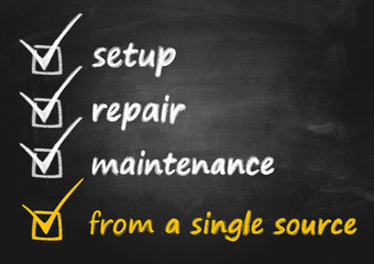 business concept - setup, repair and maintenance - all-in-one solution