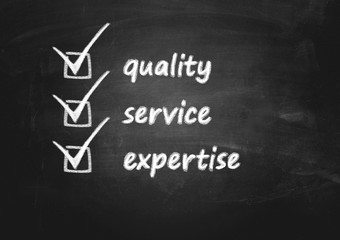 business background concept for quality, service and expertise