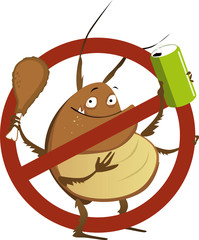 Funny cartoon cockroach with a soda drink and a drumstick in a stop sign, EPS 8 vector illustration