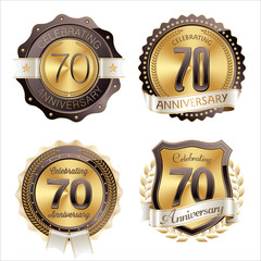 Gold and Brown Anniversary Badges 70th Year's Celebration