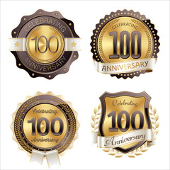 Gold and Brown Anniversary Badges 100th Year's Celebration