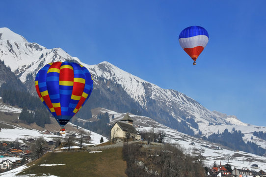 hot air balloons at the Chateau d'Oex festival