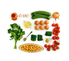 Food ingredients for omelet for healthy breakfast isolated on wh