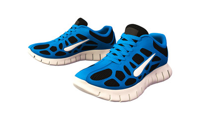 Blue Sneakers, sports running shoes isolated on white background