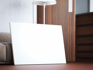 Blank canvas in modern loft interior. 3d rendering