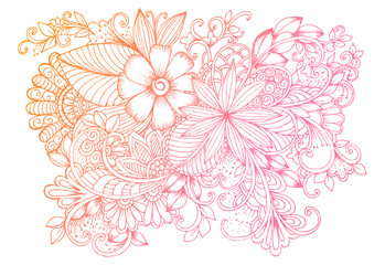 Vector vintage hand drawing  flowers