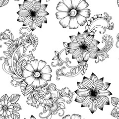 Seamless vector floral pattern in black and white