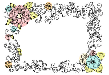 Vector floral frame of doodle flowers