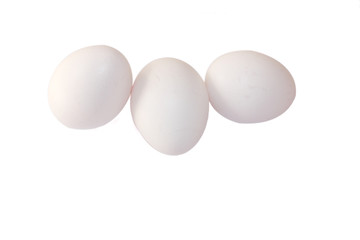 Fresh White eggs isolated on white