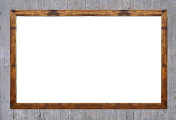 Empty wooden frame isolated on concrete background