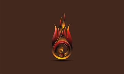 fire dragon vector 3d logo