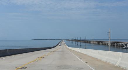 Bridges going to infinity. Seven mile bridge architecture landmark in Florida.