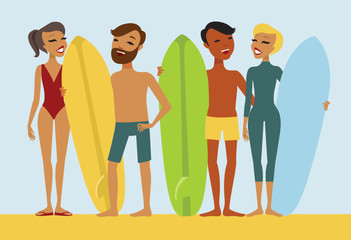 Young surfers flat vector characters