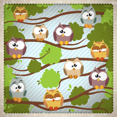 Vintage background with a cute owls
