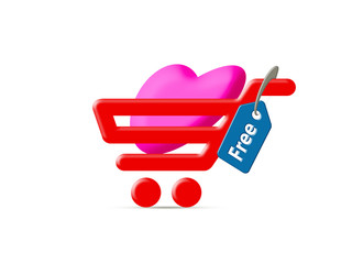 Love for free with heart in cart and free sign tag