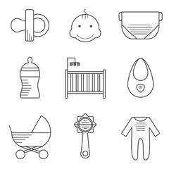 Baby icons in thin line style. Outline icons thin flat design, modern line stroke style, web and mobile design element. Vector illustration
