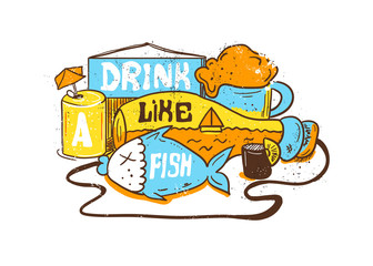 "Ediom illustration ""Drink like a fish"". Vector editorial Illustration with bottle, fish and alcohol. Hand painting style."