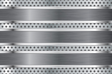 Metal plate on steel background. Perforated texture.