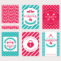 Love, romantic and Valentine's Day banners.