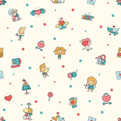 Flat design Valentines day love and romance icons pattern