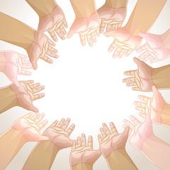 Vector background of hands