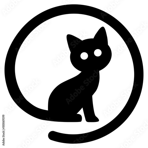 icon sitzende schwarze katze cat zeichen als symbol f r catcontent vektor freigestellt. Black Bedroom Furniture Sets. Home Design Ideas
