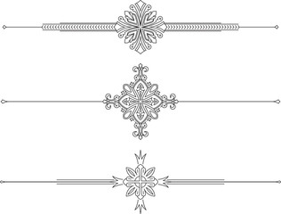 Set of 3 decorative vector mono line style text dividers
