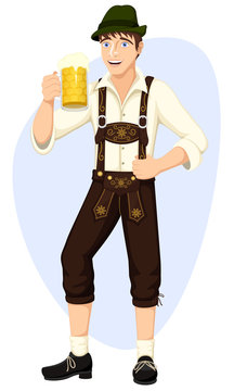 Vector illustration of a cartoon man dressed for German Oktoberfest, smiling and holding a glass of beer.