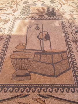 Sychar, Israel, July 11, 2015.: Mosaic on the floor in a modern
