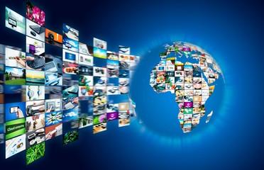 Television broadcast streaming multimedia. Earth globe compositi