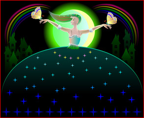 Beautiful fairy dancing in the nighttime with butterflies, vector cartoon image.