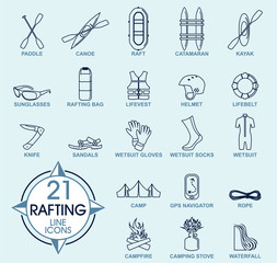 Vector set of Thin line Icons - Rafting whitewater travel